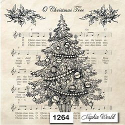 (1264) TWO Individual Paper Luncheon Decoupage Napkins -  CHRISTMAS TREE MUSIC