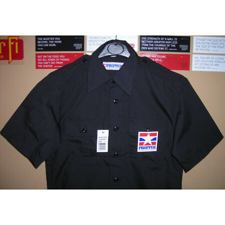 img-GENUINE US PROPPER TACTICAL POLICE SHIRT 2 POCKETS EPAULETS RIP STOP BLACK NEW
