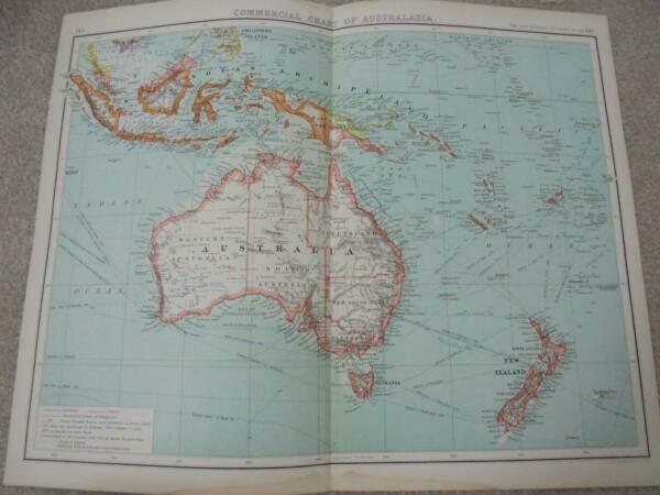 MAP c1900 AUSTRALASIA COMMERCIAL CHART BARTHOLOMEW ATLAS COLOUR LITHOGRAPH