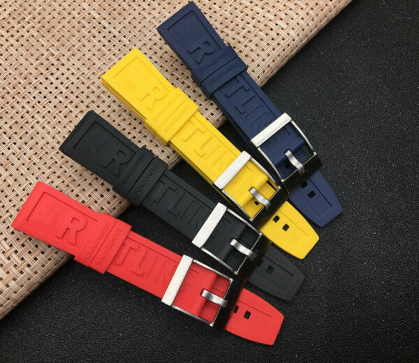 Rubber Silicone Watch Strap Band 22mm 24mm Black Red Blue Yellow For Breitling