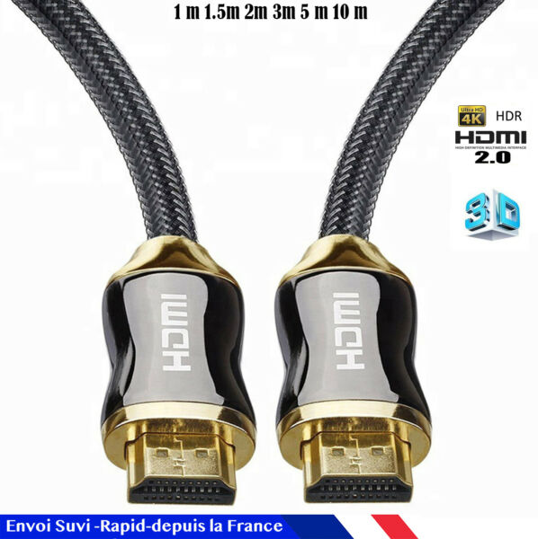Cable hdmi 2.0 4K 60Hz ultra HD 2160p 3D Full HD HDTV HDR 18GB 1,5 2 3 5 10 30 m