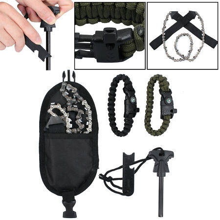 img-24 Inch Survival Chain Saw Hand ChainSaw Emergency Outdoor Camping Kit Black UK