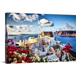 The town of Oia, Santorini, Greece Canvas Wall Art Print, Architecture Home