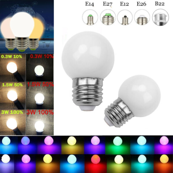 Dimmable LED Globe Bulb E26 E27 B15 B22 E14 E12 3W 110-220V Color Change Lamp RK