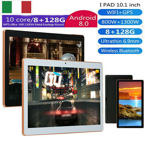 10.1'' 8GB+128GB Tablet PC Bluetooth Android 8.1 Octa 10 Core Dual Sim d'oro