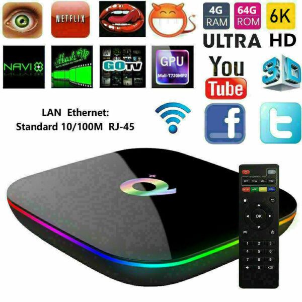 SMART TV BOX Q Plus ANDROID 9.0 PIE 4GB RAM 64GB 6K IPTV WIFI