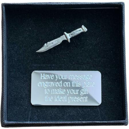 img-Personalised Gift Box & Hand Made Pewter Scuba Divers Knife Pin Badge
