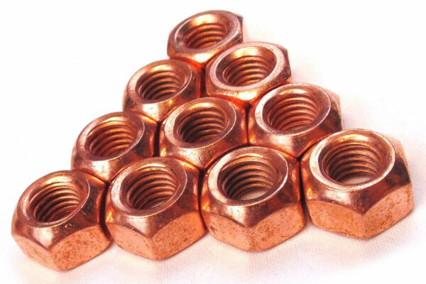 10 x Copper Flashed Nuts M8 x 1.25 Ideal 4 Exhaust Manifold Headers High Temp AS