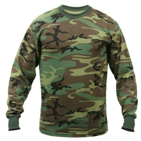 img-t-shirt camo long sleeve woodland camouflage cotton poly blend rothco 6778