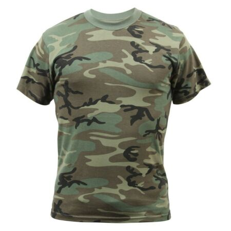 img-t-shirt camo woodland camouflage washed for vintage style and feel rothco 4777