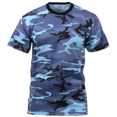 img-Blue Camo T-shirt Sky Blue Camouflage Cotton Poly Blend Rothco 6788