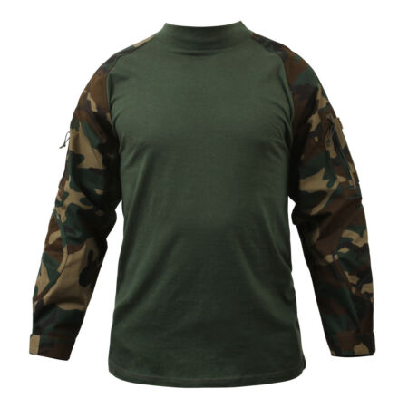 img-combat shirt woodland camo tactical style various sizes rothco 90025