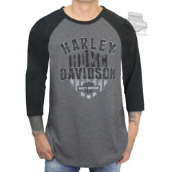 Kyпить Harley-Davidson Mens Destination HDMC Charcoal & Black 3/4 Sleeve Raglan T-Shirt на еВаy.соm