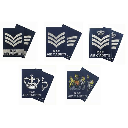 img-Pair of Regulation RAFAC NCO SNCO WO Rank Slides Blue ( RAF Rank Slides - NEW