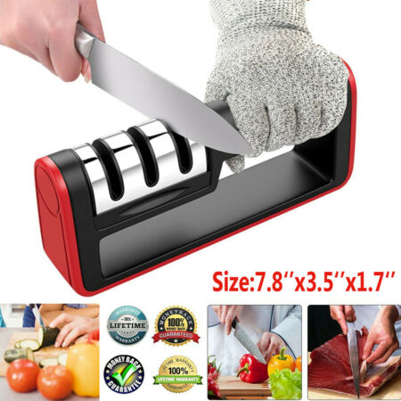 img-Kitchen Senzu Knife Sharpener W/ Cut Resistant Glove Sharpen 3 Stage Handheld