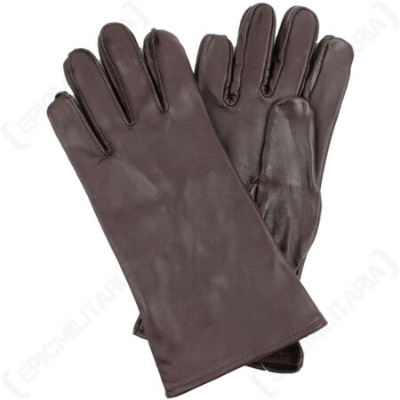 img-Original US Forces Brown Genuine Leather Gloves Winter Hunting Casual Vintage