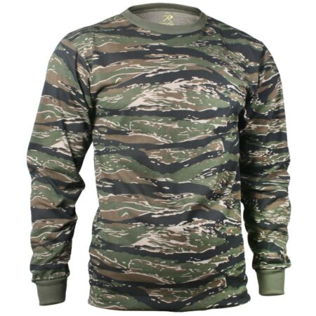 img-t-shirt camo tiger stripe camouflage long sleeve cotton poly blend rothco 66787