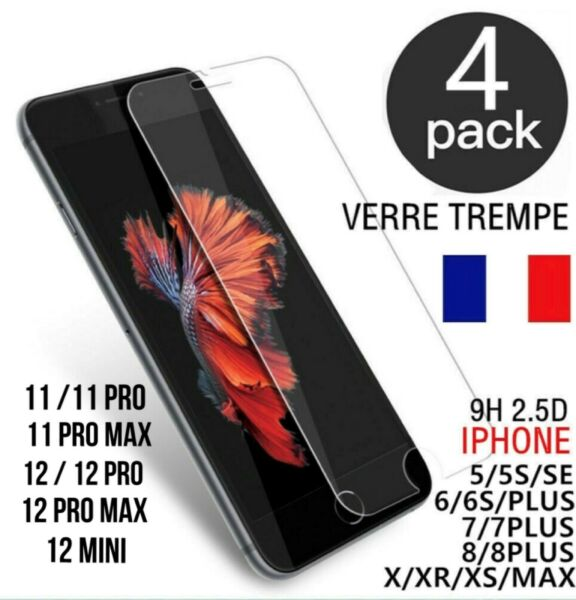 VERRE TREMPE IPHONE VITRE  FILM PROTECTION ECRAN 11 PRO MAX 6 7 8 PLUS X XR XS