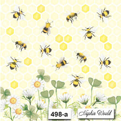 Kyпить (498-a) TWO Individual Paper Luncheon Decoupage Napkins  HONEY BEES DAISIES COMB на еВаy.соm