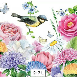 (217) TWO Individual Paper Luncheon Decoupage Napkins - BIRD FLOWERS BUTTERFLY