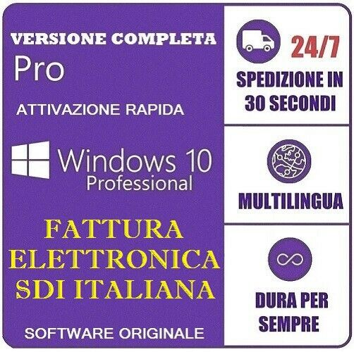 LICENZA WINDOWS 10 PRO PROFESSIONAL 32/64 BIT PRODUCT KEY FULL ESD FATTURA SDI