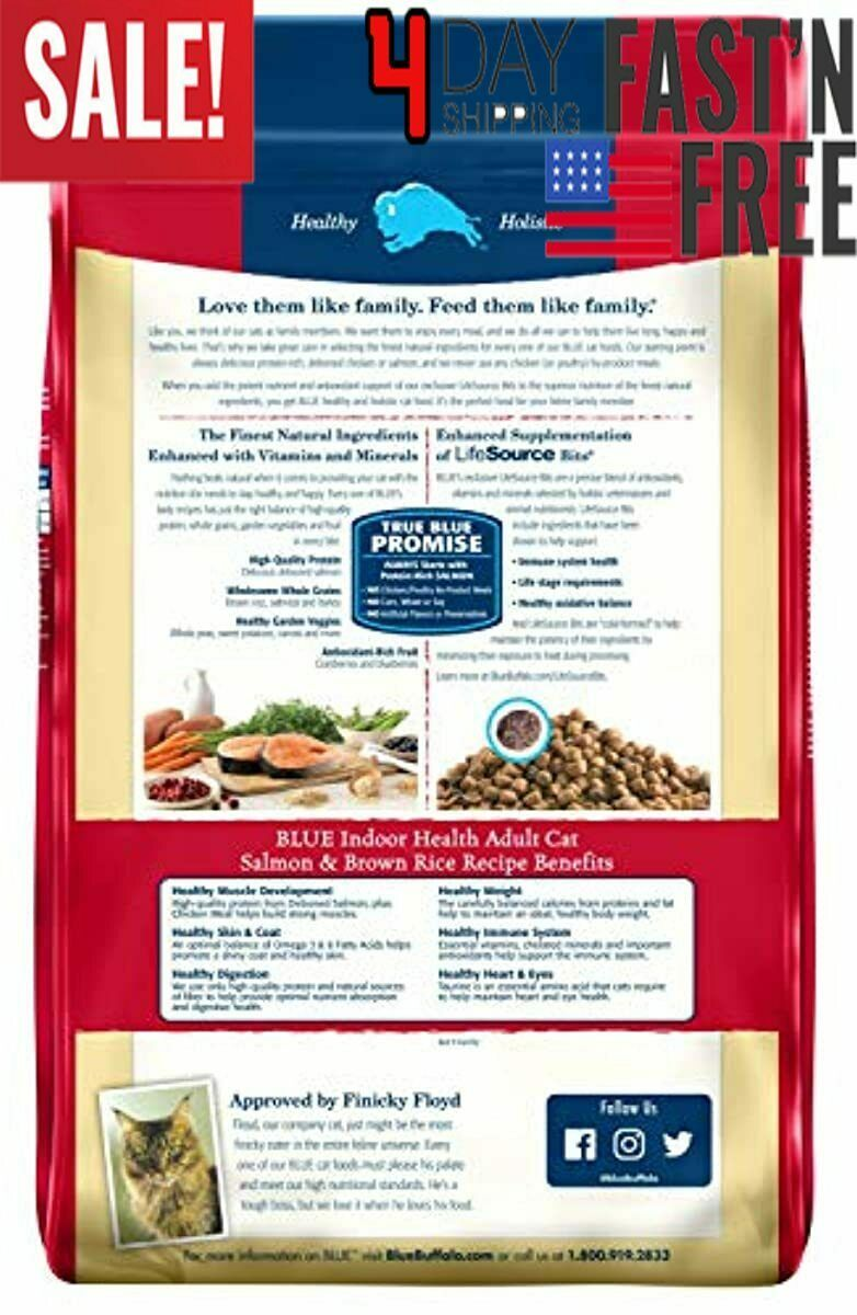 15 Lb - Salmon & Brown Rice - Blue Buffalo Indoor Health Natural Adult Dry....