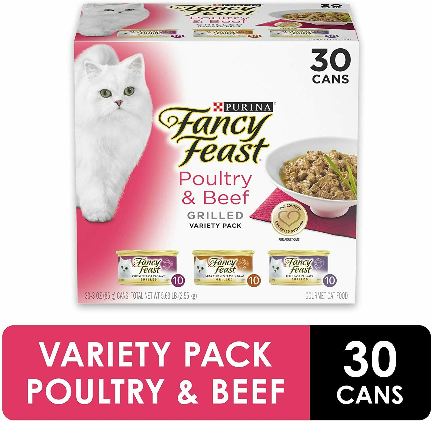 Purina Fancy Feast Feast In Gravy Canned Wet Cat Treat, Cat Food 30 Cans