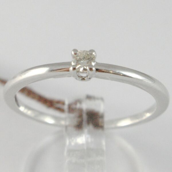 ItalienWhite Gold Ring 750 18K, Solitaire Shank Square with Diamond, Carat 0.07