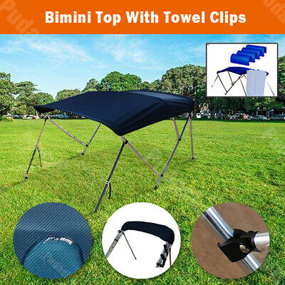 4 Bow Boat Bimini Top Canopy Cover 8 ft Free Clips 85''-90'' Support Poles BB4N2