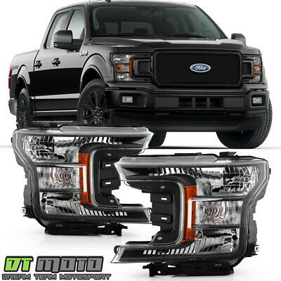 2018 2019 2020 Ford F150 Halogen Type Black Special Edition Headlights Headlamps