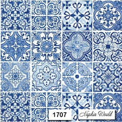 (1707) TWO Individual Paper LUNCHEON Decoupage Napkins - PATTERN BLUE TILES