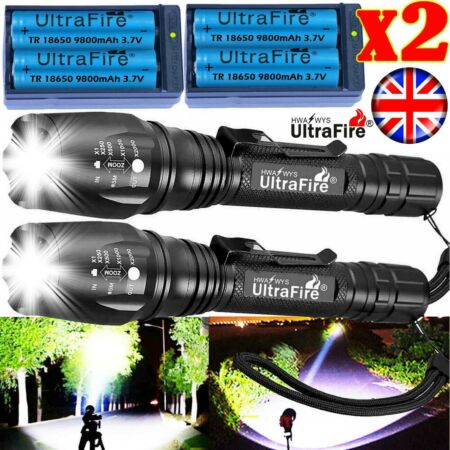img-Zoom Tactical Military 350000Lumens CREE T6 LED Flashlight 18650 Torch Headlamp