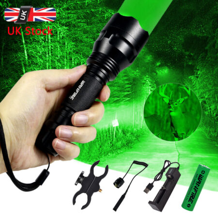 img-Tactical 8000LM Green Red Hunting LED Flashlight Torch Scope Mount Lamp 18650 UK