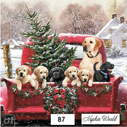 Kyпить (87) TWO Individual Paper LUNCHEON Decoupage Napkins - RED TRUCK DOGS CHRISTMAS на еВаy.соm