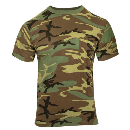 img-Camo T-shirt Woodland Camouflage With Chest Pocket Hunting Shirt Rothco 6667