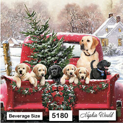(5180) TWO Individual Paper BEVERAGE / COCKTAIL Decoupage Napkins DOGS RED TRUCK
