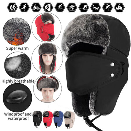 img-Aviator Trapper Hat Earflap Russian Ushanka Winter Warm Fur Ski Face Mask Cap