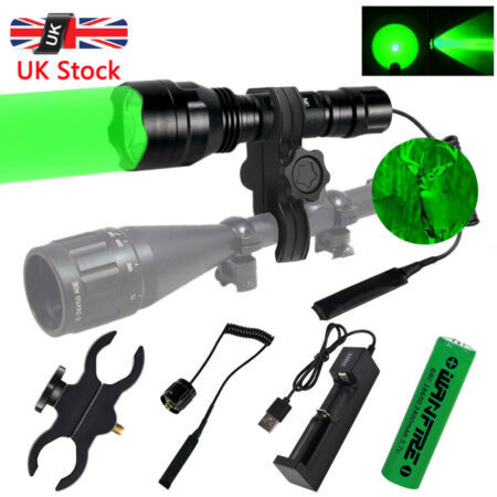 img-8000LM Tactical Flashlight Lamp Hunting Air Rifle Torch Light Scope Mount C8 UK