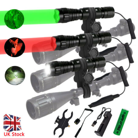 img-8000LM Tactical Scope Mount Flashlight Lamp Hunting Gun Air Rifle Torch Light UK