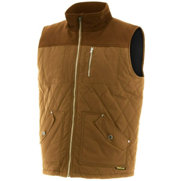 Royaume-UniCAT Caterpillar Coton Ciré Gilet Mens Micropolaire  Marron Durable Veste
