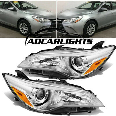Fit For Toyota-Camry 2015-2017 Chrome Headlights Clear Projector lamps Pair
