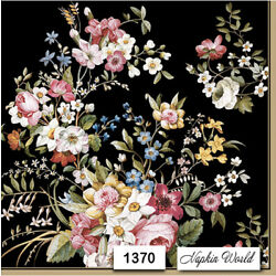 (1370) TWO Individual Paper LUNCHEON Decoupage Napkins - FLOWERS on black