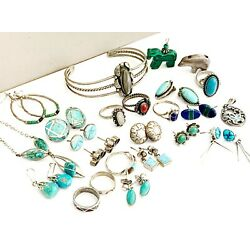 Kyпить Old Sterling Silver Ring LOT Group Collection Turquoise Earrings Cuff Navajo на еВаy.соm