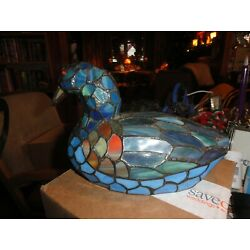 Kyпить TIFFANY STYLE STAINED GLASS DUCK LAMP SHADES OF BLUE BEAUTIFUL 11