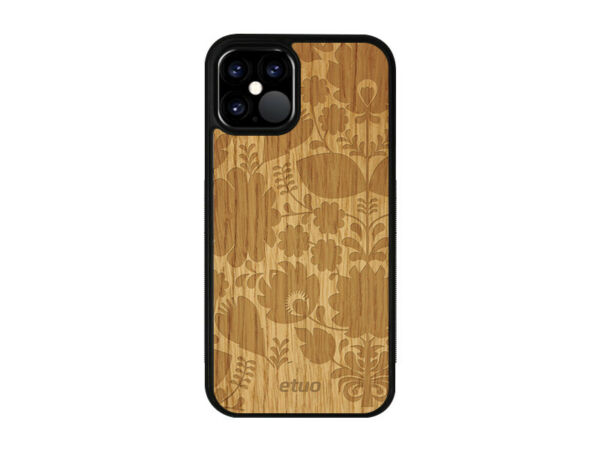 DeutschlandApple iPhone 12 Mini Hülle etuo Wood Cover Silikon TPU Eichenholz -