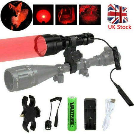 img-Tactical Military LED Flashlight Hunting Rifle Light Torch w/Laser Mount Scope