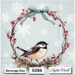 (5086) TWO Individual Paper BEVERAGE / COCKTAIL Decoupage Napkins - BIRD WREATH