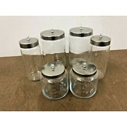 Kyпить 6 Vintage Apothecary Glass Jar Set w Lids GRAFCO stainless medical doctor office на еВаy.соm