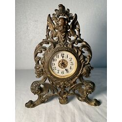 Kyпить Antique Vintage Faces Ornate Metal Clock Plated Brass   Westclox на еВаy.соm