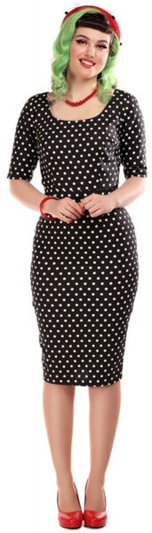 Grettstadt,DeutschlandCollectif AMBER Vintage POLKA DOT Punkte Pencil DRESS  Rockabilly